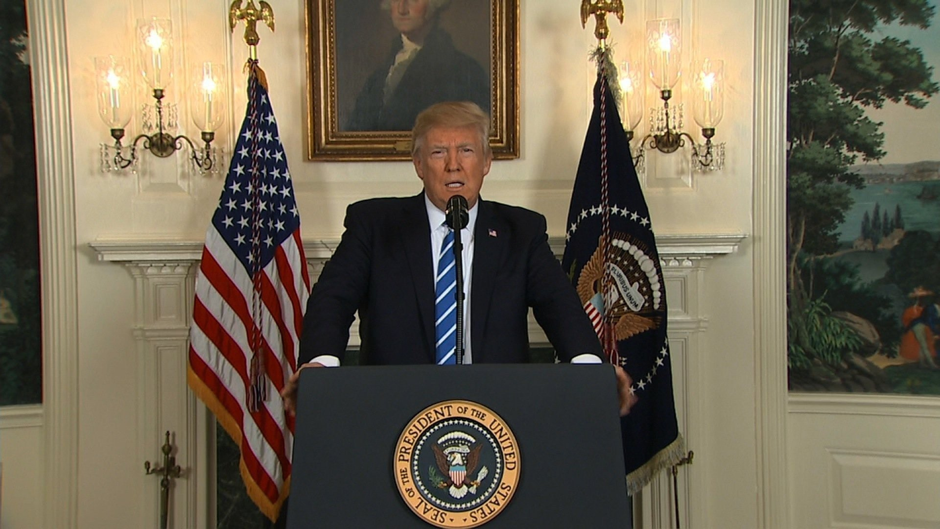 Image result for President Trump addresses Americans on his trip to Asia