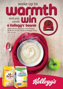Poster: Wake up to warmth and you could win a Kellogg's beanie
