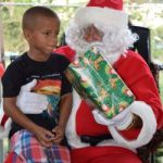 Helicopter delivers Santa to George Town
