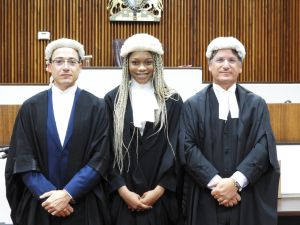 (L-R) Sebastian Said, Appleby counsel; Appolina Bent; and Justice Richard Williams