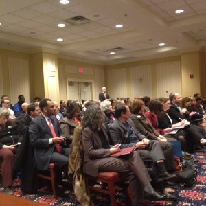 People packed the Senate Finance Committee's first hearing on the Maryland Healthy Working Families Act on February 3, 2015, many testifying for and against mandated sick and safe leave for employers (Capital News Service Photo by Grace Toohey)
