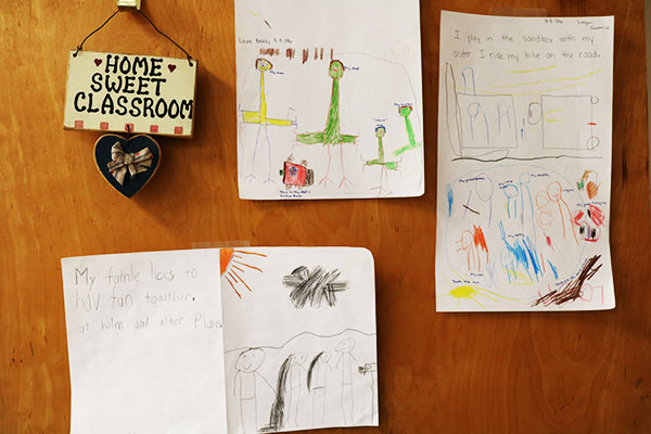 Student drawings hang on the classroom door used for kindergarten through second grade classes at Swan Meadow School in Oakland, Md., on Wednesday, October 5, 2016. (Vickie Connor/Capital News Service)