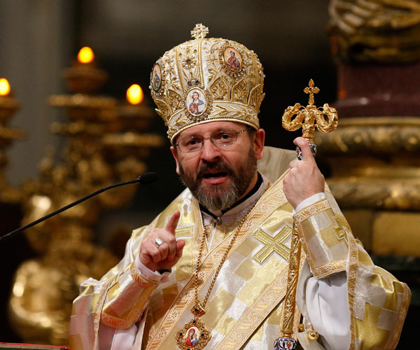 """Archbishop Sviatoslav Shevchuk of Kiev-Halych, leader of the Ukrainian Catholic Church, gives the homily during a Divine Liturgy for Ukrainian expatriates at the Basilica of St. Mary Major in Rome Feb. 19. Archbishop Shevchuk pleaded in his homily for the world to """"not be indifferent"""" to the situation in his country. (CNS/Paul Haring)"""