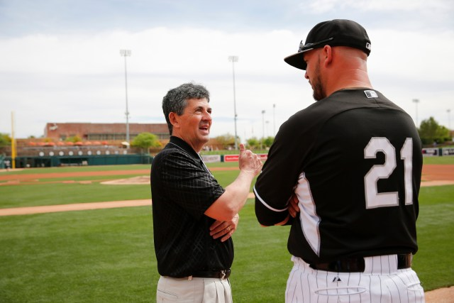 Ray McKenna of Catholic Athletes for Christ, left, talks with Chicago White Sox catcher Tyler Flowers before a spring training game in Glendale, Arizona. (CNS/Nancy Wiechec)