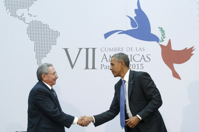 Cuba's President Raul Castro shakes hands with U.S. President Barack Obama as they hold a bilateral meeting during the seventh Summit of the Americas in Panama City  April 11. (CNS/Reuters)