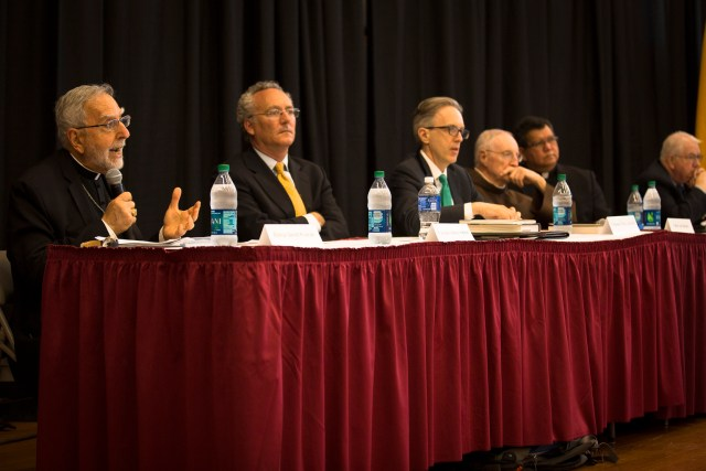 Bishop Gerald F. Kicanas of Tucson, Ariz., speaks April 22 at The Catholic University of America in Washington as a member of a panel of historians and other clergymen discussing the upcoming canonization of Blessed Junipero Serra. (CNS/Tyler Orsburn)