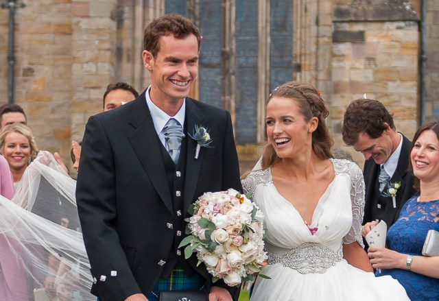 British tennis player Andy Murray and his wife, Kim, leave after their wedding ceremony at the cathedral in Dunblane, Scotland, April 11. In Europe, many countries distinguish between church and civil marriages. (CNS/Joey Kelly, EPA)