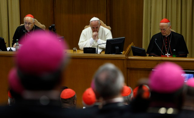 Pope Francis attends a session of last October's extraordinary Synod of Bishops on the family. Preparations are underway for an ordinary synod on the family at the Vatican Oct. 4-25. (CNS/Paul Haring)