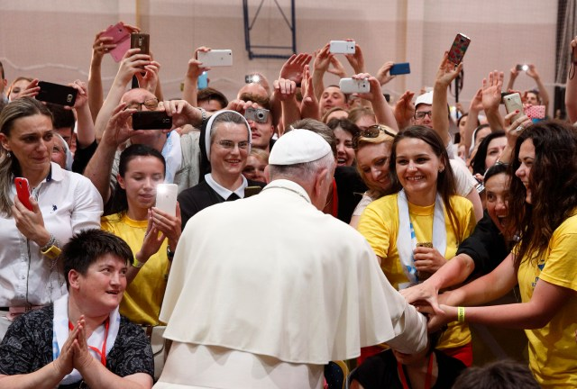 Pope Francis greets young people in Sarajevo, Bosnia-Herzegovina, June 6. (CNS/Paul Haring)