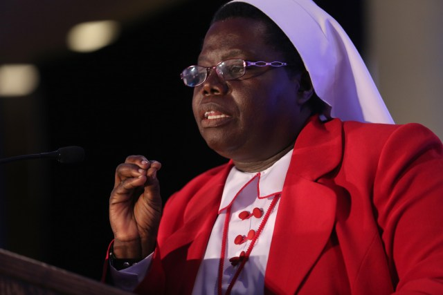 Sister Rosemary Nyirumbe, a member of the Sisters of the Sacred Heart of Jesus, based in Juba, South Sudan, delivers a keynote address June 25 during the 2015 Catholic Media Conference in Buffalo, N.Y. (CNS/Bob Roller)