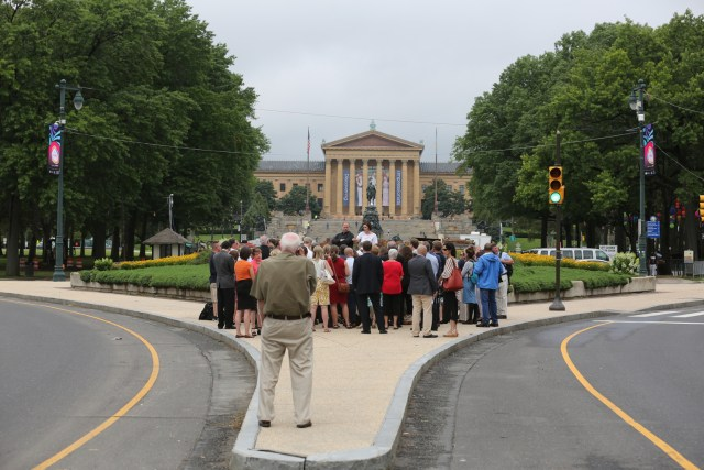 Members of the media gather near the Philadelphia Museum of Art along Benjamin Franklin Parkway in Philadelphia  during a preview tour for Pope Francis' trip to the U.S. in September. The pope's outdoor Mass on the parkway could draw more than 1.5 million participants.(CNS/Bob Roller)