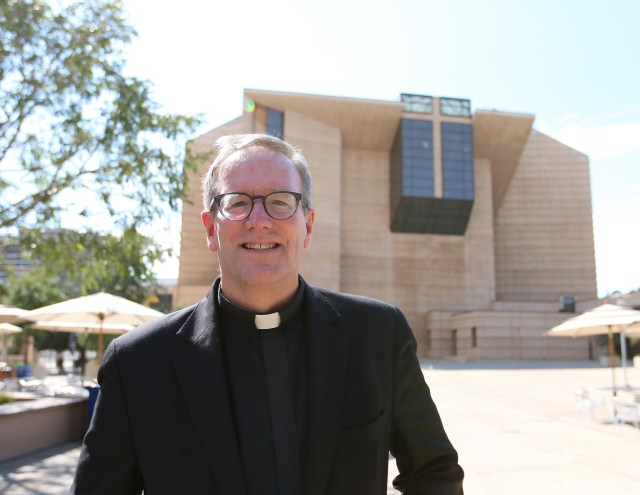 Father Robert Barron is pictured in front of the Cathedral of Our Lady of the Angels in Los Angeles July 20. (CNS/J.D. Long-Garcia, The Tidings)