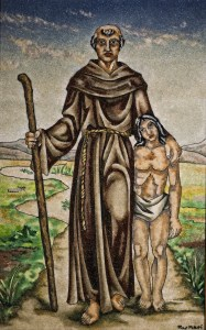 Blessed Junipero Serra is depicted with a California Indian in a painting in early May at Mission San Fernando Rey de Espana in Mission Hills, Calif. (CNS/Nancy Wiechec)