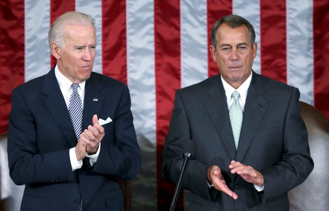 Vice President Joe Biden and House Speaker John Boehner are pictured in 2013 during a joint meeting of Congress. Pope Francis is scheduled to address Congress Sept. 24. (CNS photo/Gary Cameron, Reuters)