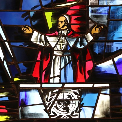 Pope Paul VI's address to the U.N. General Assembly in New York City on Oct. 4, 1965, is depicted in a stained-glass window at the Immaculate Conception Center in Douglaston, N.Y. (CNS/Gregory A. Shemitz)