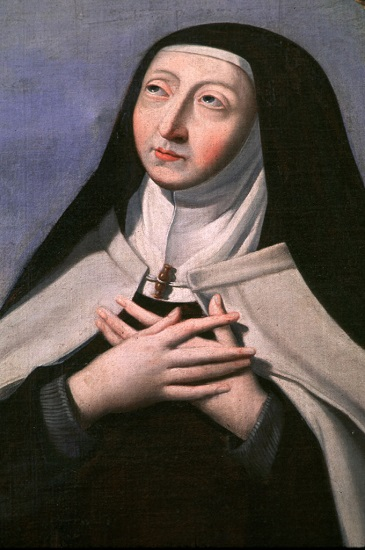St. Teresa of Avila, mystic, founder of the Discalced Carmelites, and the first female declared a doctor of the church, is depicted in a church in Troyes, France. St. Teresa was born in Spain in 1515 and is the patron saint of the country. Her feast is Oct. 15. (CNS/Crosiers)