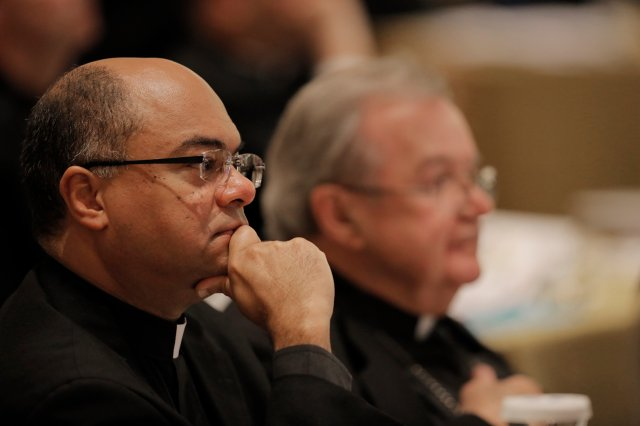 Bishop Shelton J. Fabre of Houma-Thibodaux, La., listens to a speaker Nov. 16 during the opening of the 2015 fall general assembly of the U.S. Conference of Catholic Bishops in Baltimore. (CNS/Bob Roller)