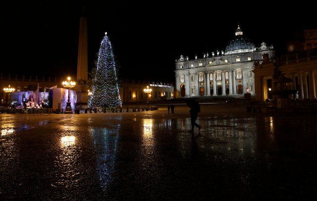 The St. Peter's Square Christmas tree during the 2014-15 Christmas season. (CNS/Paul Haring)