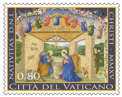 The Vatican's 2015 Christmas stamps feature a manuscript illumination of the Holy Family by an unknown artist from the 15th century. The image is from the Codices Urbinates Latini 239 (1477-1478) at the Vatican Library. (CNS/courtesy Vatican Philatelic and Numismatic Office)