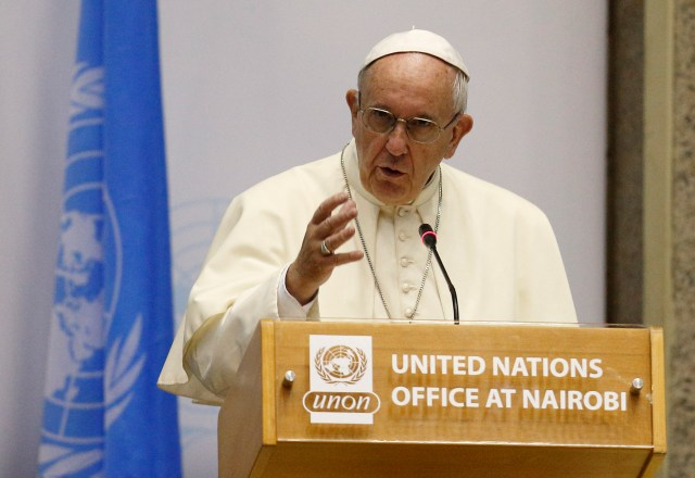 Pope Francis speaks during a visit to the United Nations Office in Nairobi, Kenya, Nov. 26. (CNS/Paul Haring)