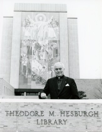 Holy Cross Father Theodore Hesburgh, former president of the University of Notre Dame in Indiana, poses for a photo May 8, 1987. Father Hesburgh died Feb. 26 at age 97 in the Holy Cross House adjacent to the university. (CNS photo)