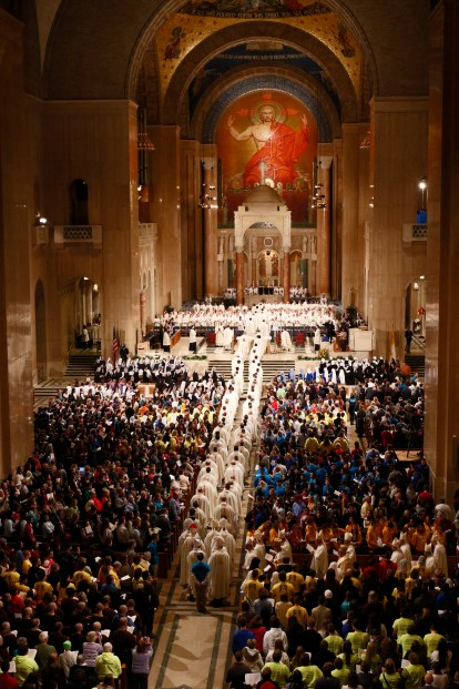 Clergy process at the beginning of the opening Mass of the National Prayer Vigil for Life at the Basilica of the National Shrine of the Immaculate Conception in Washington Jan. 21. (CNS/Gregory A. Shemitz)