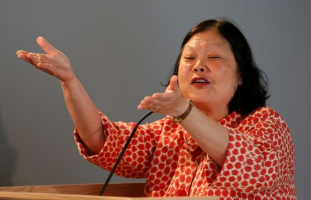 Carolyn Woo, president and CEO of Catholic Relief Services, speaks in Rome in 2014 at a conference on impact investing. (CNS file/Paul Haring)