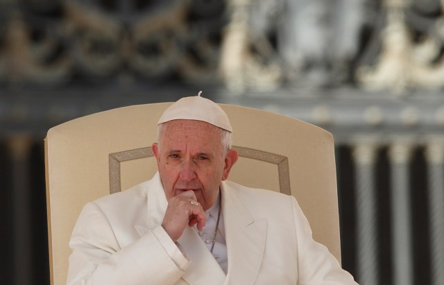 Pope Francis looks on during his general audience in St. Peter's Square at the Vatican March 2. (CNS/Paul Haring)