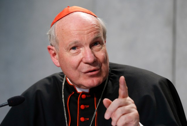 """Austrian Cardinal Christoph Schonborn speaks during a news conference for the release of Pope Francis' apostolic exhortation on the family, """"Amoris Laetitia"""" (""""The Joy of Love""""), at the Vatican April 8. (CNS/Paul Haring)"""