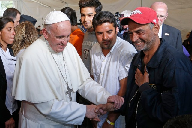 Pope Francis meets refugees at the Moria refugee camp on the island of Lesbos, Greece, April 16, 2016. (CNS/Paul Haring)