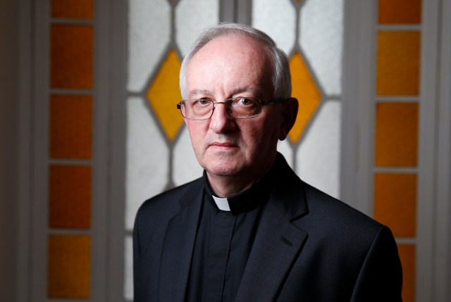 Father John Fogarty, superior general of the Congregation of the Holy Spirit, is pictured at the order's headquarters in Rome April 20. (CNS photo/Paul Haring)