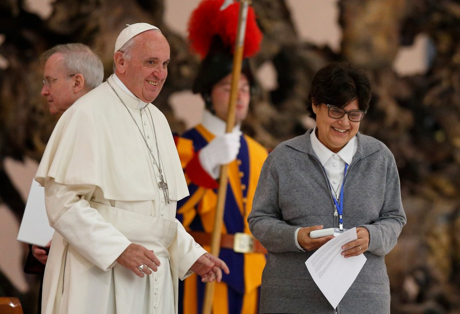 Pope Francis greets Sister Carmen Sammut, president of the International Union of Superiors General, during an audience with the heads of women's religious orders in Paul VI hall at the Vatican May 12. (CNS/Paul Haring)