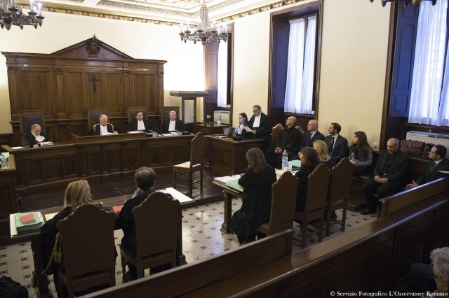 The opening proceedings for the 'VatiLeaks' case are seen in 2015 in a Vatican courtroom. (CNS/L'Osservatore Romano via Reuters)