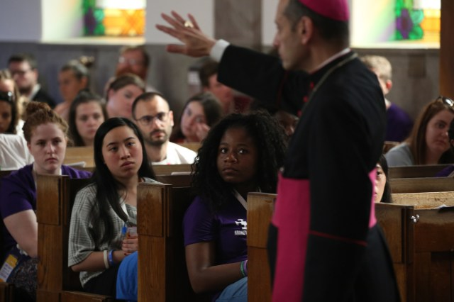 Bishop Frank J. Caggiano of Bridgeport, Conn., speaks to World Youth Day pilgrims at Sacred Heart Church in Krakow, Poland, July 28. (CNS/Bob Roller)