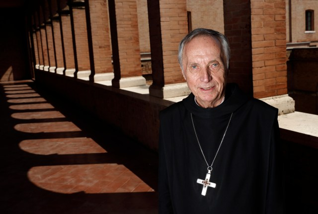 Abbot Primate Notker Wolf, superior of the Benedictine order, is pictured at St. Anselm Abbey in Rome Sept. 1. The heads of Benedictine monasteries are meeting in Rome Sept. 3-16 to elect a new abbot primate. Abbot Wolf has served in the role since 2000. (CNS/Paul Haring)