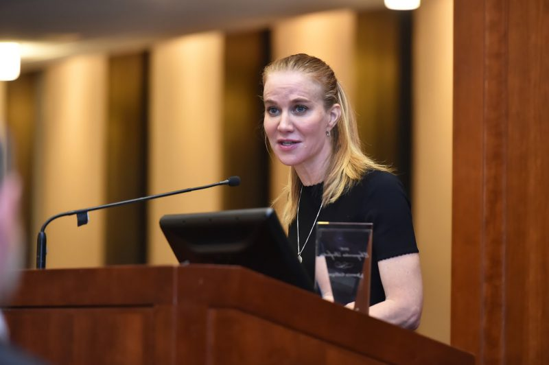 """Jeannie Gaffigan, comedy writer and producer of """"The Jim Gaffigan Show,"""" speaks after accepting the inaugural Eloquentia Perfecta Award from Paulist Press and Fordham University's Graduate School of Religion and Religious Education. She is the wife of comedian Jim Gaffigan. (CNS/Fordham University)"""