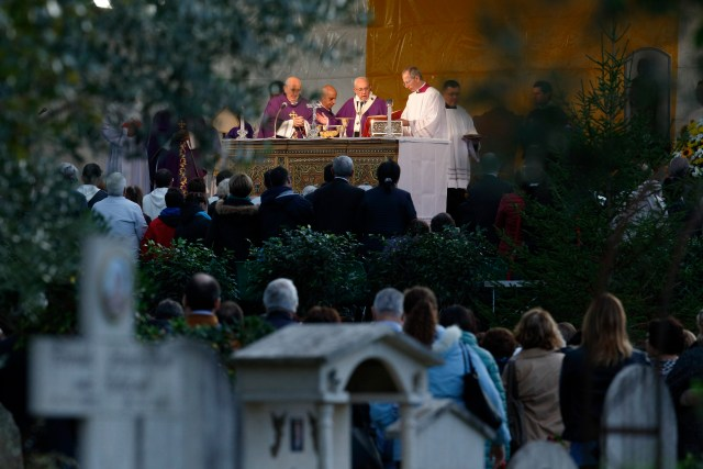 Pope Francis celebrates Mass in Rome's Prima Porta cemetery Nov. 2, the feast of All Souls. (CNS/Paul Haring)