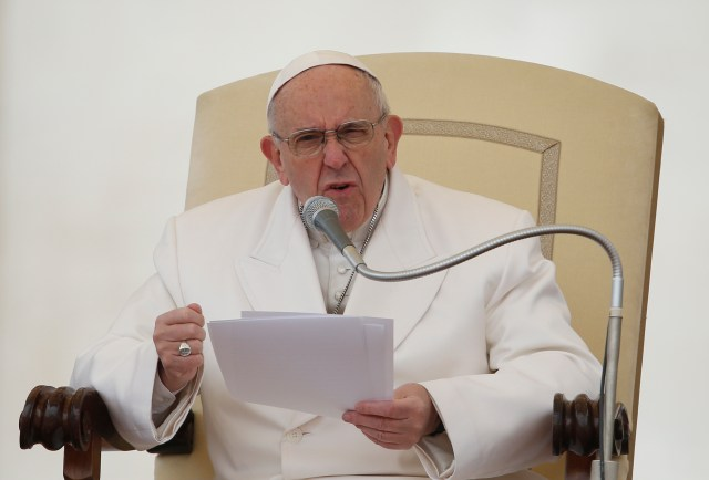 Pope Francis speaks during his general audience in St. Peter's Square at the Vatican Feb. 22. (CNS/Paul Haring)