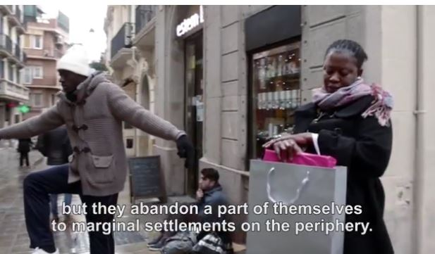 """Screen grab from latest pope video shows actors in a """"mannequin challenge"""" while Pope Francis speaks about welcoming the poor into our communities. (CNS)"""
