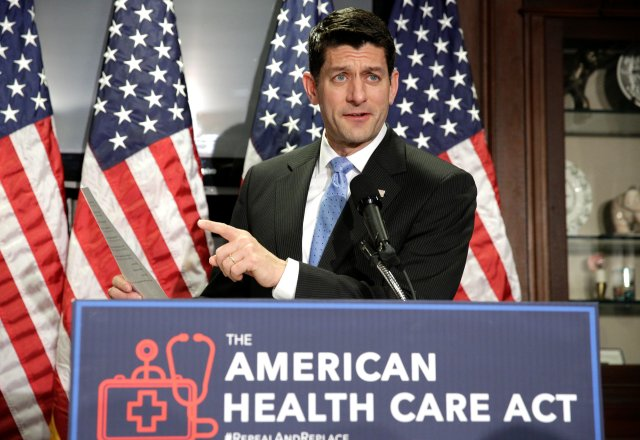 U.S. House Speaker Paul Ryan, R-Wis., talks about the American Health Care Act, the Republican bill to repeal and replace the Affordable Care Act, during a March 8 news conference in Washington. (CNS/Reuters)