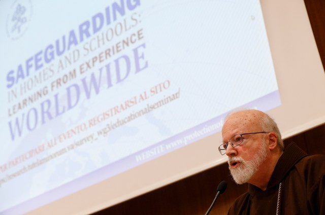 Cardinal Sean P. O'Malley of Boston, president of the Pontifical Commission for the Protection of Minors, speaks during a seminar on safeguarding children at the Pontifical Gregorian University in Rome March 23. (CNS/Paul Haring)