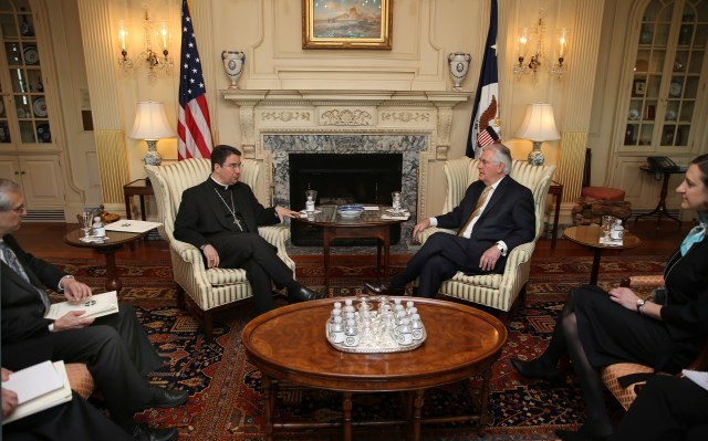 Bishop Oscar Cantu of Las Cruces, N.M., gestures during a March 23 meeting with U.S. Secretary of State Rex Tillerson at the State Department in Washington. (CNS/Bob Roller)