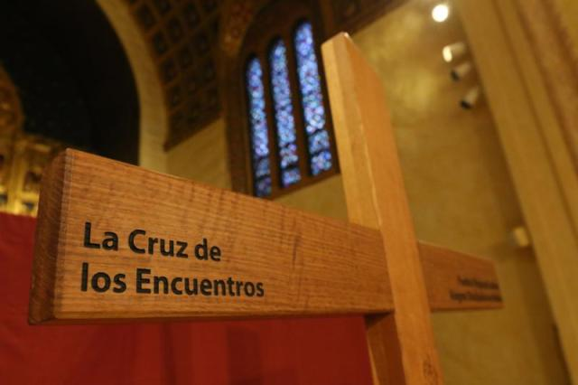 "This ""Cross of the Encuentros,"" displayed in the chapel of Immaculate Conception Seminary in Huntington, N.Y., in 2015, symbolizes the journey of faith of Latino Catholics in the United States. It was blessed by Pope Francis in Philadelphia that same year. (CNS/Gregory A. Shemitz)"