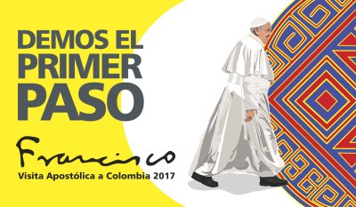 "Official logo for Pope Francis' trip to Colombia in September with the theme ""Let's Take the First Step."" (CNS)"