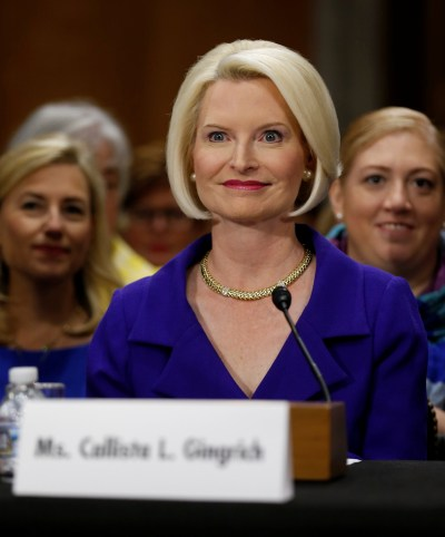 Callista Gingrich is seen at a U.S. Senate Foreign Relations Committee confirmation hearing in Washington July 18. (CNS/Reuters)