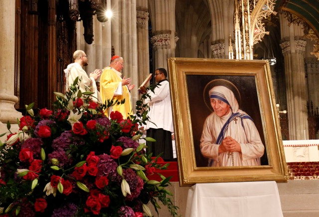 New York Cardinal Timothy M. Dolan celebrates a Mass of thanksgiving for the canonization of St. Teresa of Kolkata at St. Patrick's Cathedral in New York City in September 2016. (CNS/Gregory A. Shemitz)