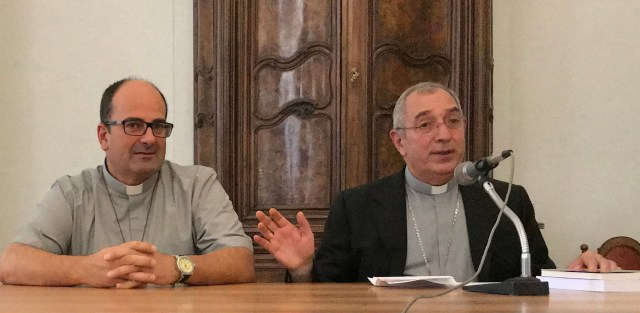 Father Gabriele Faraghini, right, a member of the Little Brothers of Jesus, has been appointed rector of the Diocese of Rome's main seminary by Pope Francis. The Little Brothers of Jesus, an order founded by Blessed Charles de Foucauld, usually do not hold positions in diocesan institutions, but live in small communities and often have jobs involving manual labor. (CNS/courtesy of the Little Brothers of Jesus)