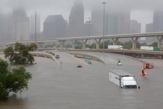 Interstate 45 is seen submerged from the effects of Hurricane Harvey Aug. 28 in Houston. (CNS/Reuters)
