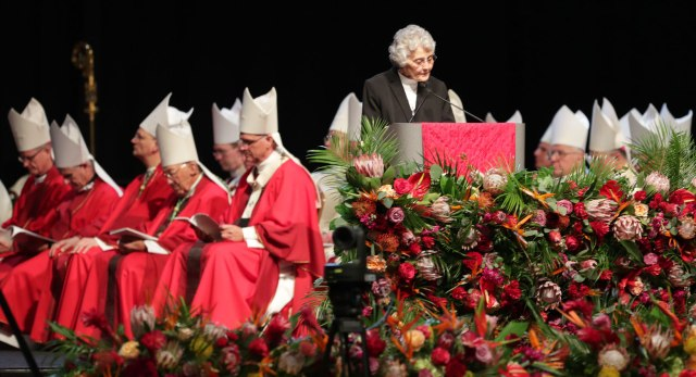 Blessed Stanley Rother's sister, Sister Marita Rother, gives the first reading during the beatification Mass for her brother Sept. 23 at Oklahoma City's Cox Convention Center. (CNS/Dave Crenshaw, Eastern Oklahoma Catholic)