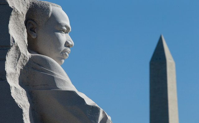 """The Martin Luther King Jr. Memorial in Washington is seen Oct. 2. Faith leaders gathered near the monument to commemorate Rev. King's 1957 essay about """"Nonviolence and Racial Justice."""" (CNS/Tyler Orsburn)"""